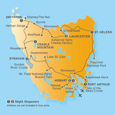 Itinerary map for AATKings 12 Day Tasmania Spectacular