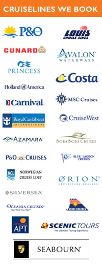 Cruises Direct books for these cruiselines worldwide and within Australia