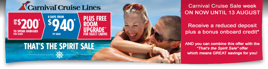 Carnival Cruises Cruise Sale Week on now until 13 August!
